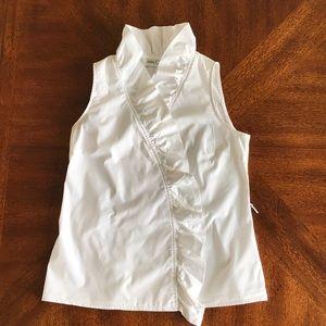 Sara Campbell white ruffle wrap sleeveless blouse